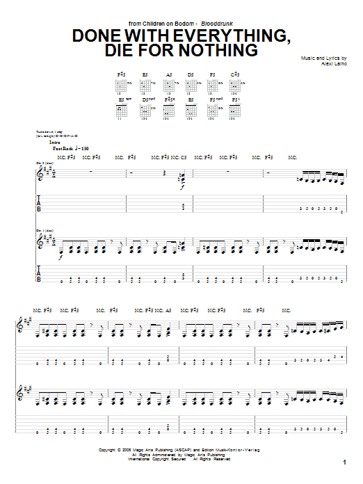 Children Of Bodom Done With Everything, Die For Nothing sheet music preview music notes and score for Guitar Tab including 16 page(s)