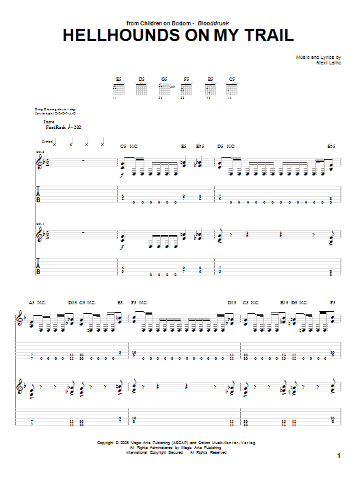 Children Of Bodom Hellhounds On My Trail sheet music preview music notes and score for Guitar Tab including 12 page(s)