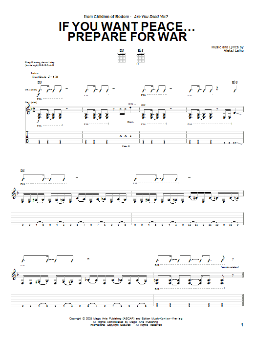 Children Of Bodom If You Want Peace... Prepare For War sheet music preview music notes and score for Guitar Tab including 17 page(s)
