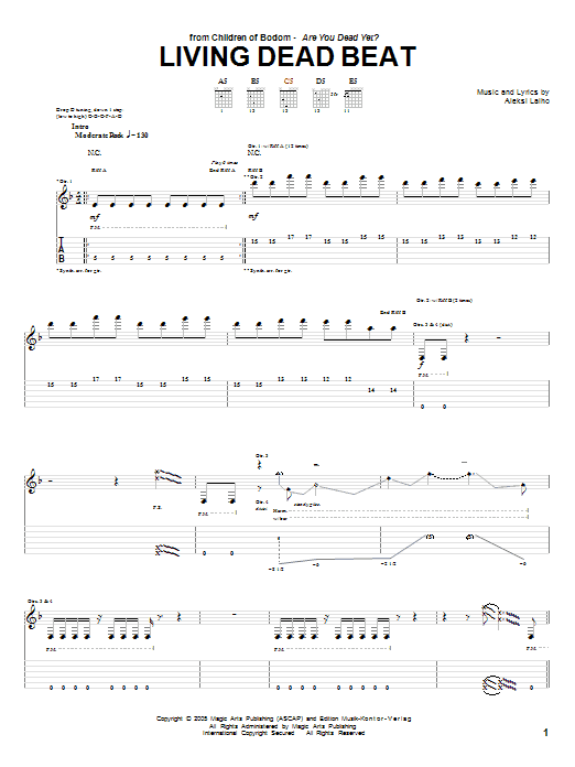Children Of Bodom Living Dead Beat sheet music preview music notes and score for Guitar Tab including 18 page(s)
