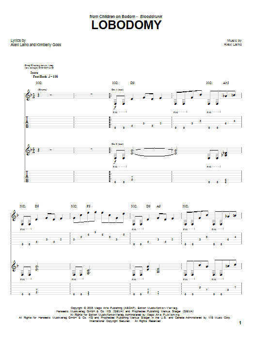 Children Of Bodom LoBodomy sheet music preview music notes and score for Guitar Tab including 14 page(s)