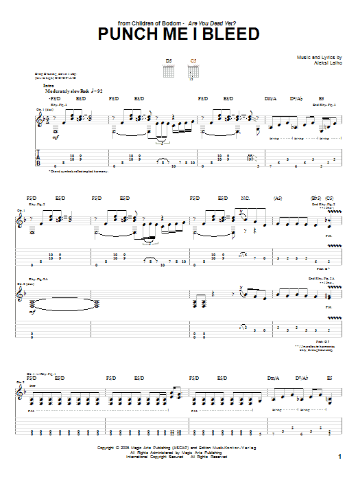 Children Of Bodom Punch Me I Bleed sheet music preview music notes and score for Guitar Tab including 15 page(s)