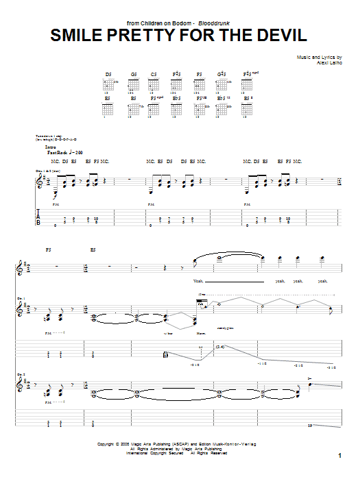 Children Of Bodom Smile Pretty For The Devil sheet music preview music notes and score for Guitar Tab including 12 page(s)
