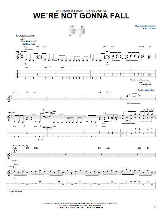 Children Of Bodom We're Not Gonna Fall sheet music preview music notes and score for Guitar Tab including 13 page(s)
