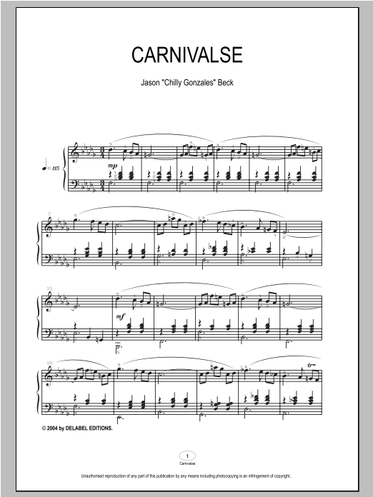 Download Chilly Gonzales 'Carnivalse' Digital Sheet Music Notes & Chords and start playing in minutes