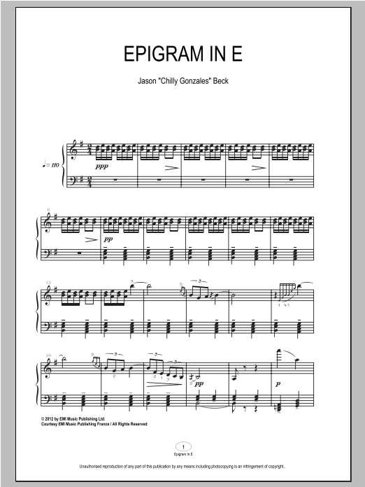Download Chilly Gonzales 'Epigram In E' Digital Sheet Music Notes & Chords and start playing in minutes