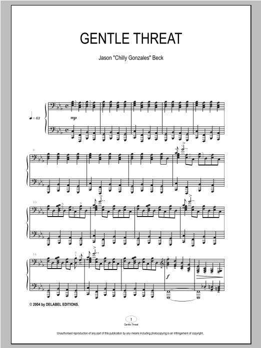 Download Chilly Gonzales 'Gentle Threat' Digital Sheet Music Notes & Chords and start playing in minutes