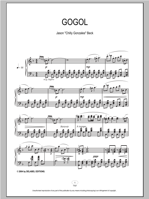 Download Chilly Gonzales 'Gogol' Digital Sheet Music Notes & Chords and start playing in minutes