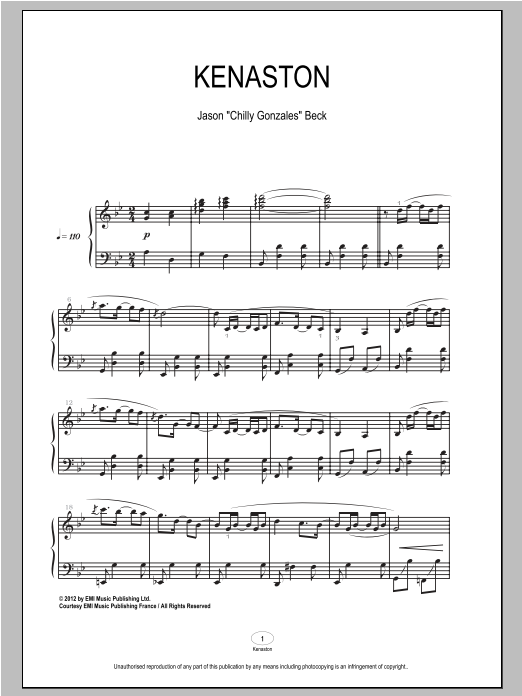 Download Chilly Gonzales 'Kenaston' Digital Sheet Music Notes & Chords and start playing in minutes
