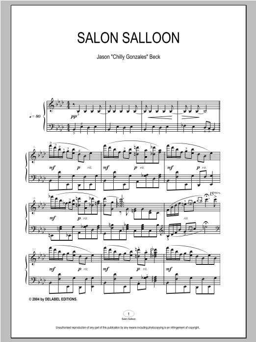 Download Chilly Gonzales 'Salon Salloon' Digital Sheet Music Notes & Chords and start playing in minutes