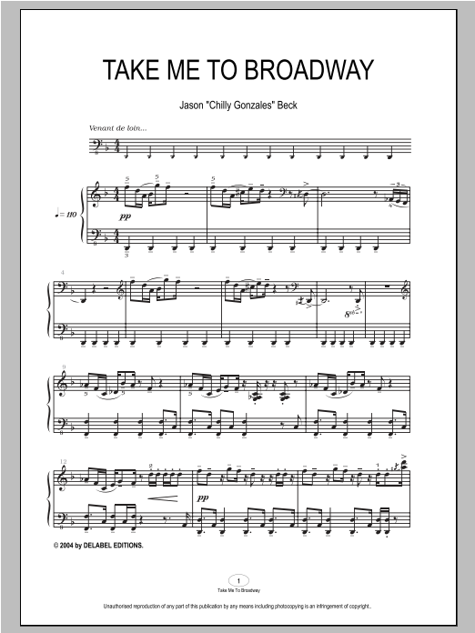 Download Chilly Gonzales 'Take Me To Broadway' Digital Sheet Music Notes & Chords and start playing in minutes