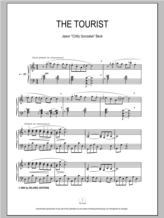Download Chilly Gonzales 'The Tourist' Digital Sheet Music Notes & Chords and start playing in minutes