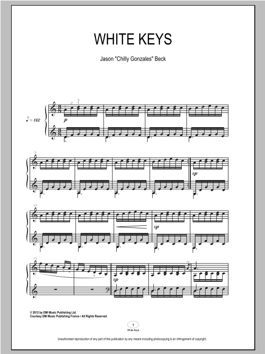 Download Chilly Gonzales 'White Keys' Digital Sheet Music Notes & Chords and start playing in minutes