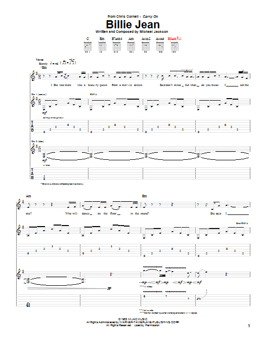 Download Chris Cornell 'Billie Jean' Digital Sheet Music Notes & Chords and start playing in minutes