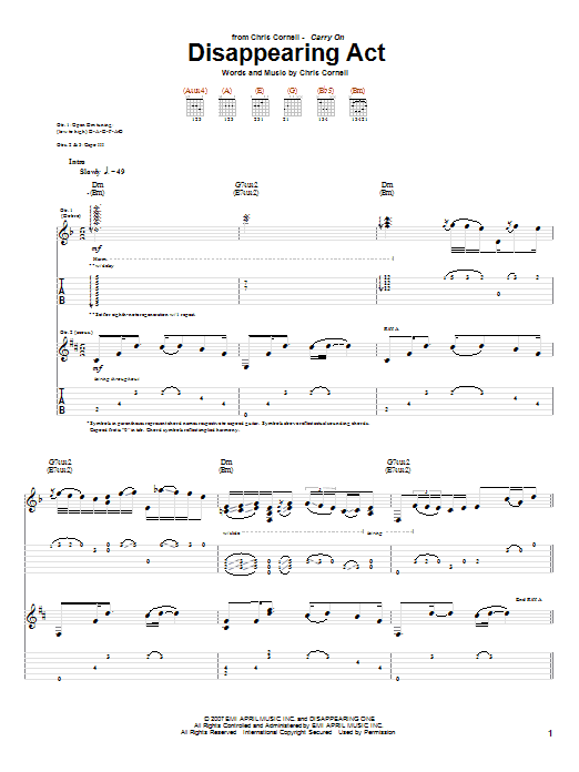 Download Chris Cornell 'Disappearing Act' Digital Sheet Music Notes & Chords and start playing in minutes