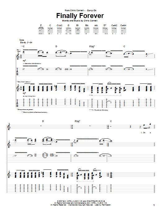 Download Chris Cornell 'Finally Forever' Digital Sheet Music Notes & Chords and start playing in minutes