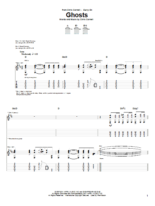 Download Chris Cornell 'Ghosts' Digital Sheet Music Notes & Chords and start playing in minutes