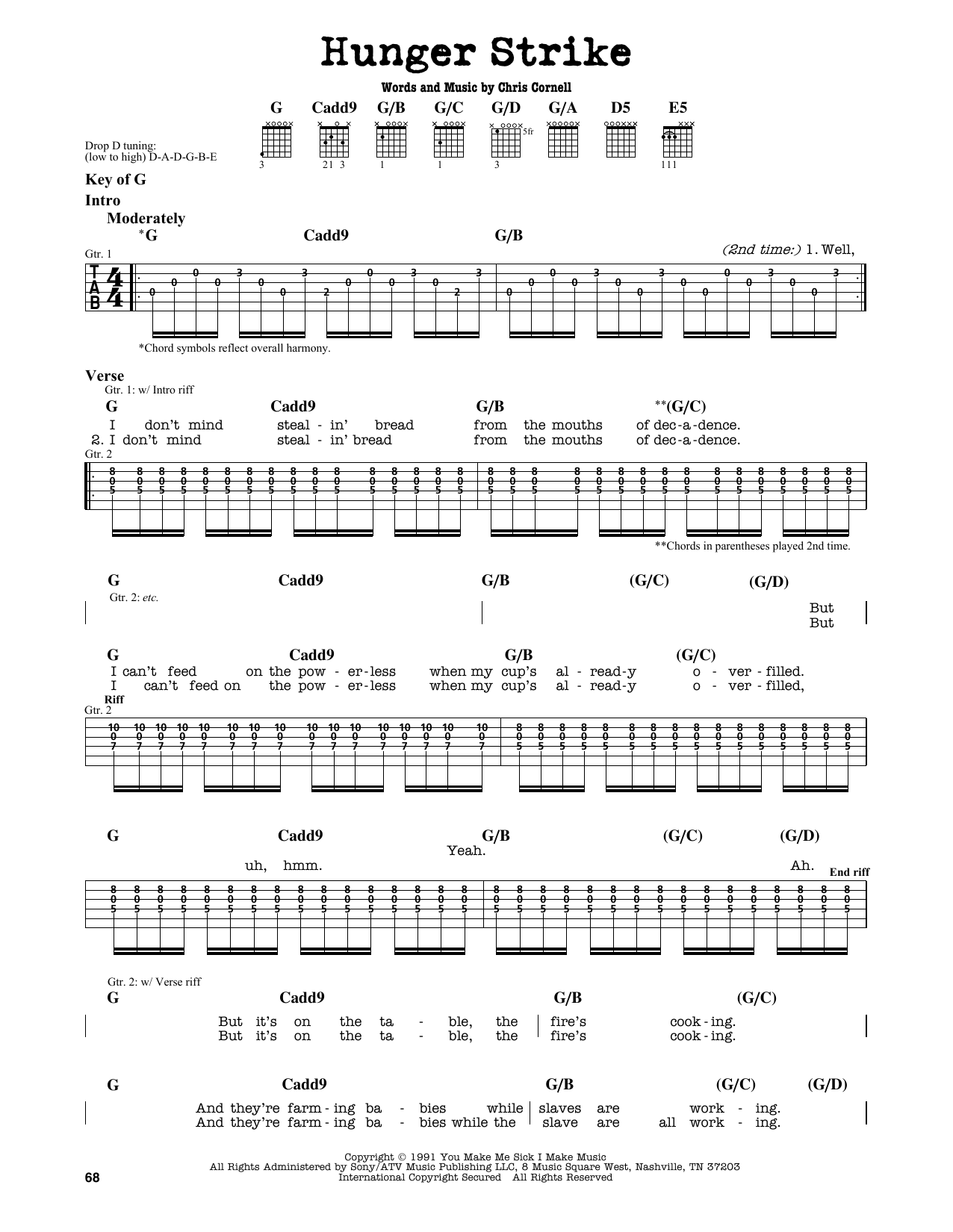 Download Chris Cornell 'Hunger Strike' Digital Sheet Music Notes & Chords and start playing in minutes