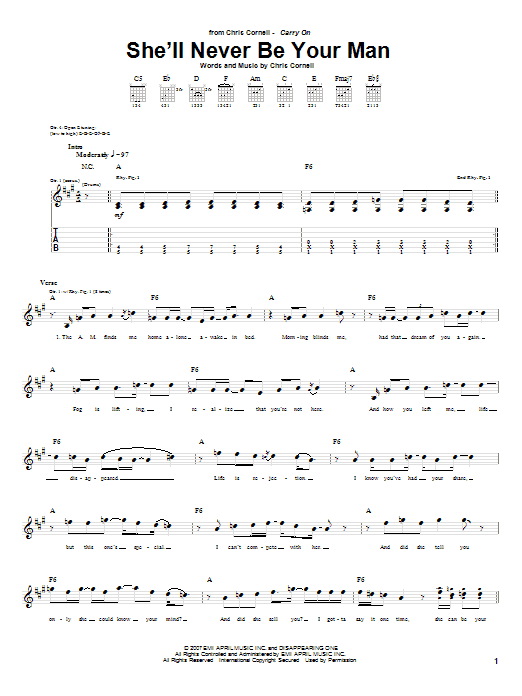 Download Chris Cornell 'She'll Never Be Your Man' Digital Sheet Music Notes & Chords and start playing in minutes
