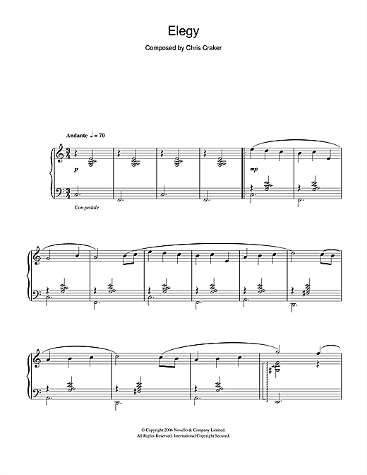 Download Chris Craker 'Elegy' Digital Sheet Music Notes & Chords and start playing in minutes
