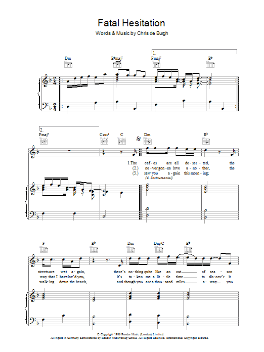 Chris de Burgh Fatal Hesitation sheet music preview music notes and score for Piano, Vocal & Guitar including 4 page(s)