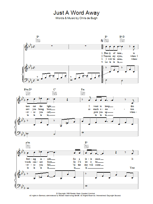 Chris de Burgh Just A Word Away sheet music preview music notes and score for Piano, Vocal & Guitar including 4 page(s)