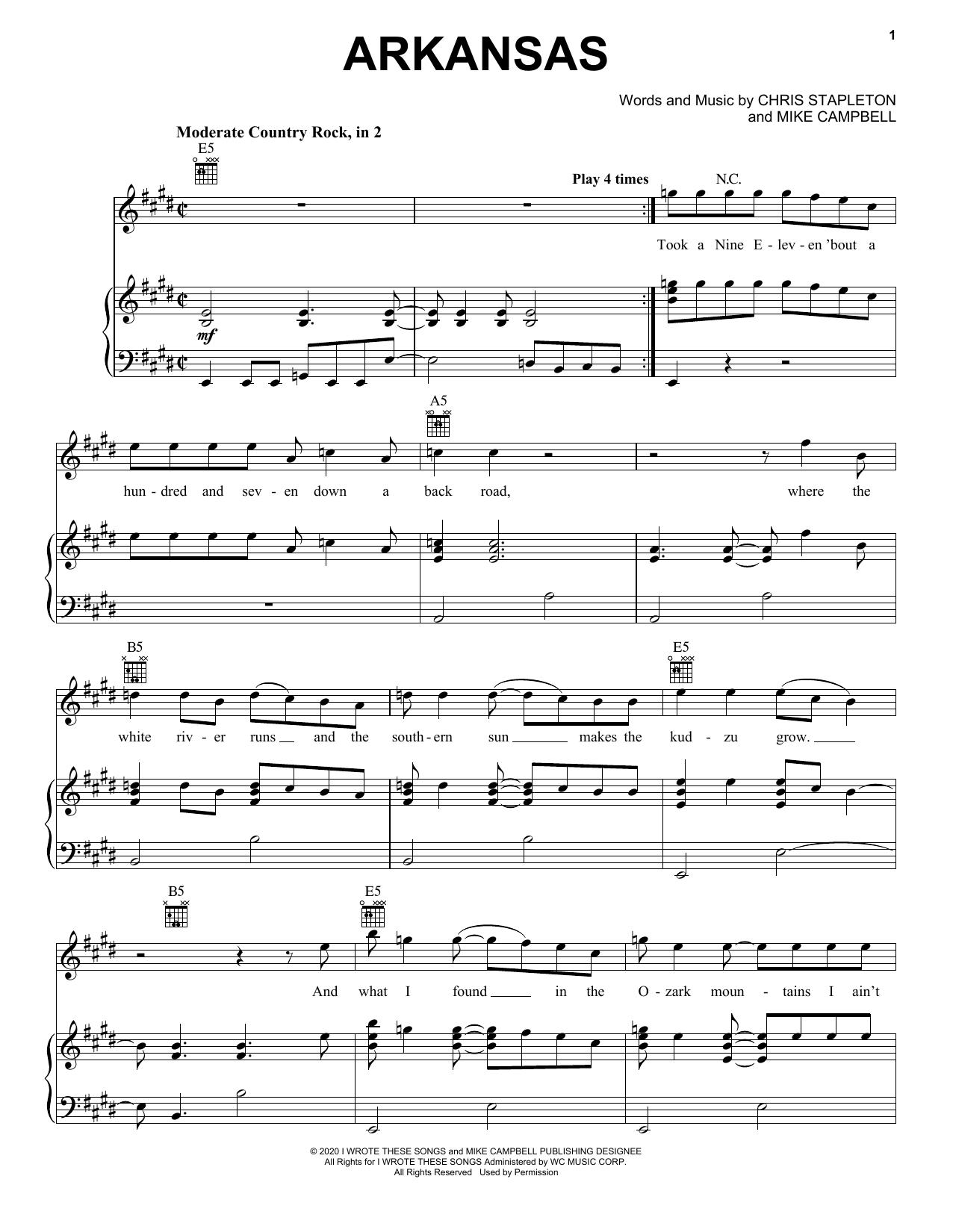 Chris Stapleton Arkansas sheet music notes and chords