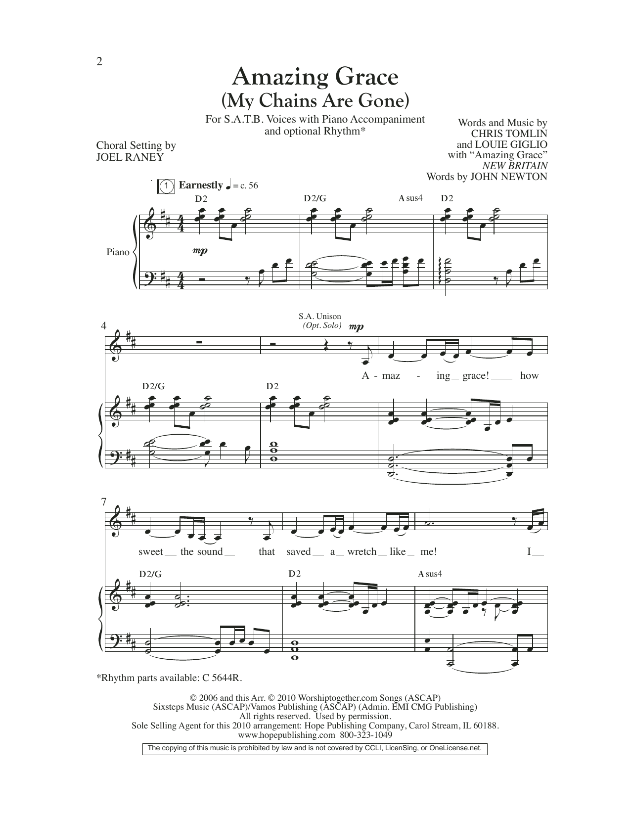 Chris Tomlin Amazing Grace (My Chains Are Gone) (arr. Joel Raney) sheet music preview music notes and score for TTBB Choir including 7 page(s)