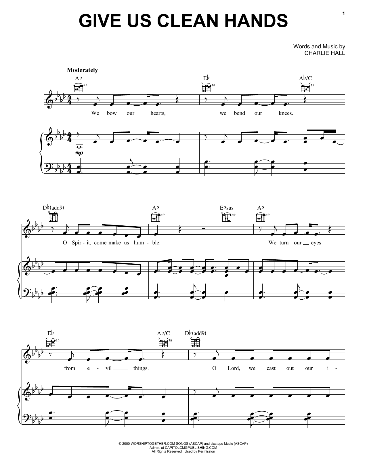 Download Chris Tomlin 'Give Us Clean Hands' Digital Sheet Music Notes & Chords and start playing in minutes