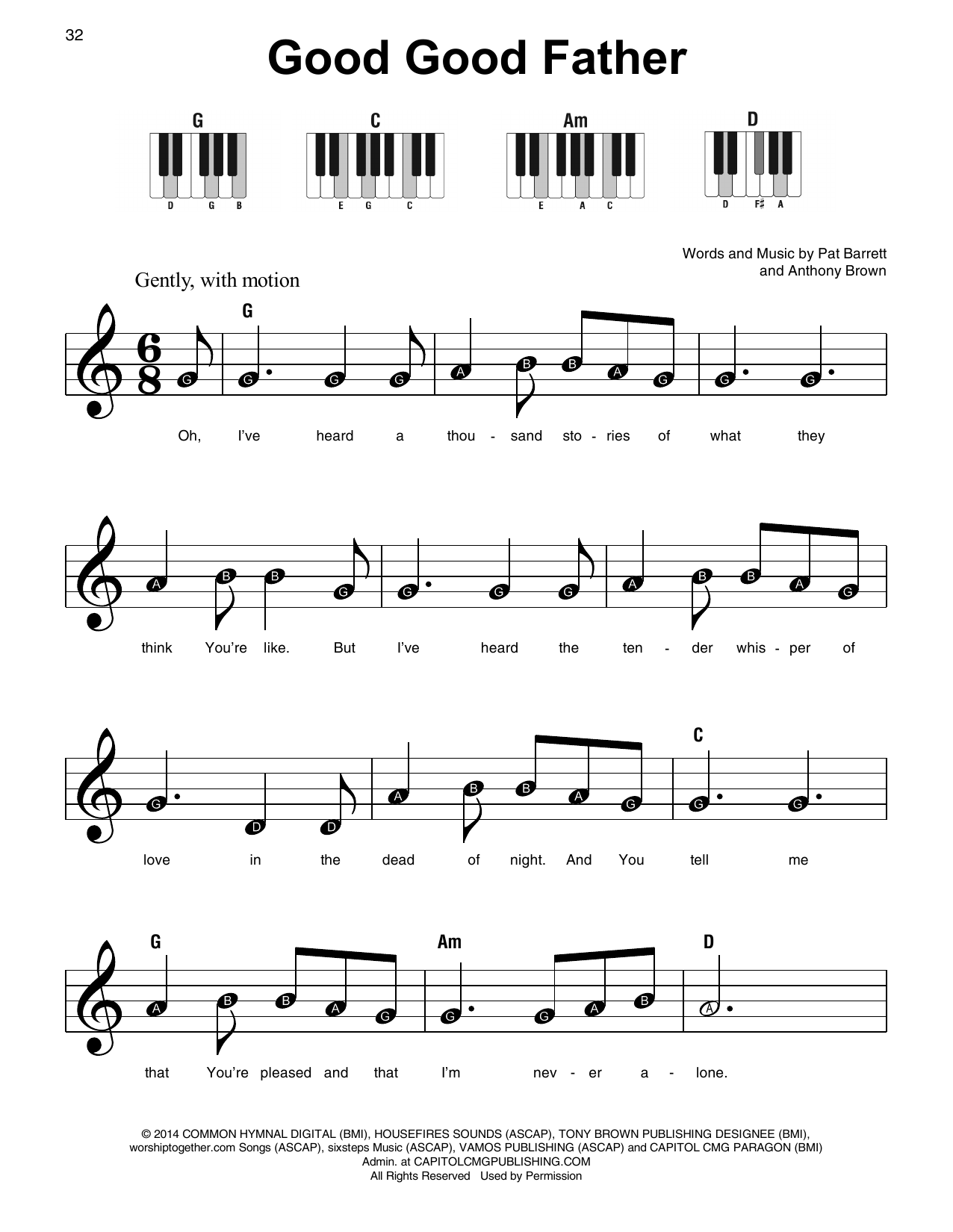 Chris Tomlin Good Good Father sheet music preview music notes and score for Super Easy Piano including 2 page(s)