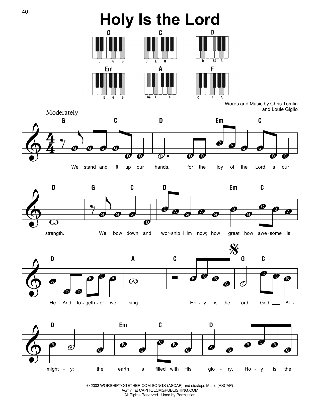 Chris Tomlin Holy Is The Lord sheet music preview music notes and score for Super Easy Piano including 2 page(s)