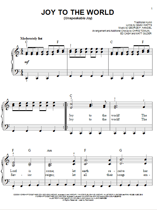 Chris Tomlin Joy To The World (Unspeakable Joy) sheet music notes and chords