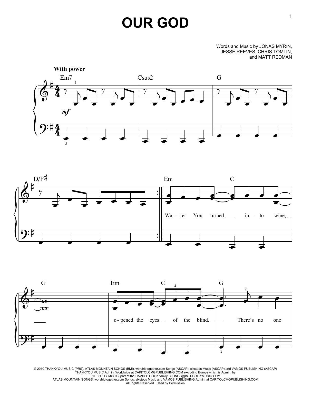 Chris Tomlin Our God sheet music preview music notes and score for Super Easy Piano including 2 page(s)