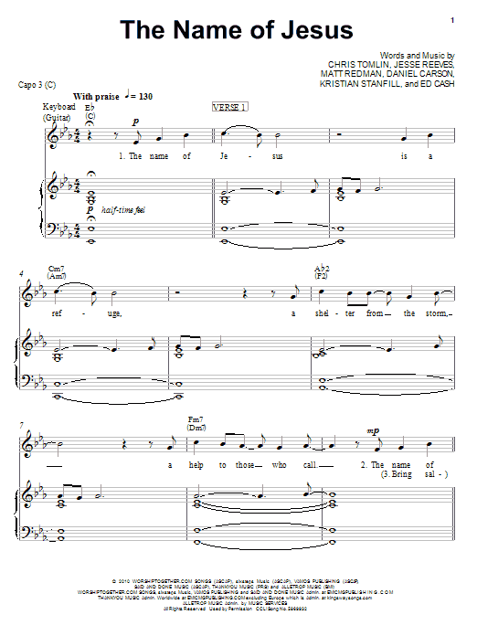 Chris Tomlin The Name Of Jesus sheet music notes and chords