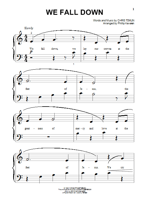 Chris Tomlin We Fall Down sheet music preview music notes and score for Super Easy Piano including 1 page(s)