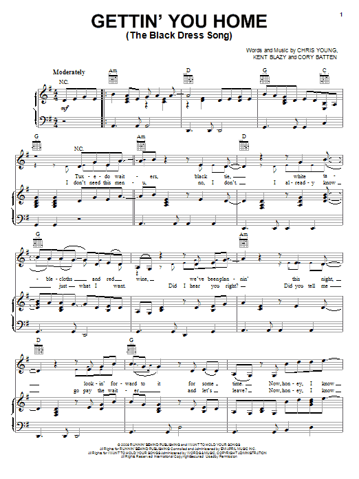 Chris Young Gettin' You Home (The Black Dress Song) sheet music preview music notes and score for Piano, Vocal & Guitar (Right-Hand Melody) including 4 page(s)