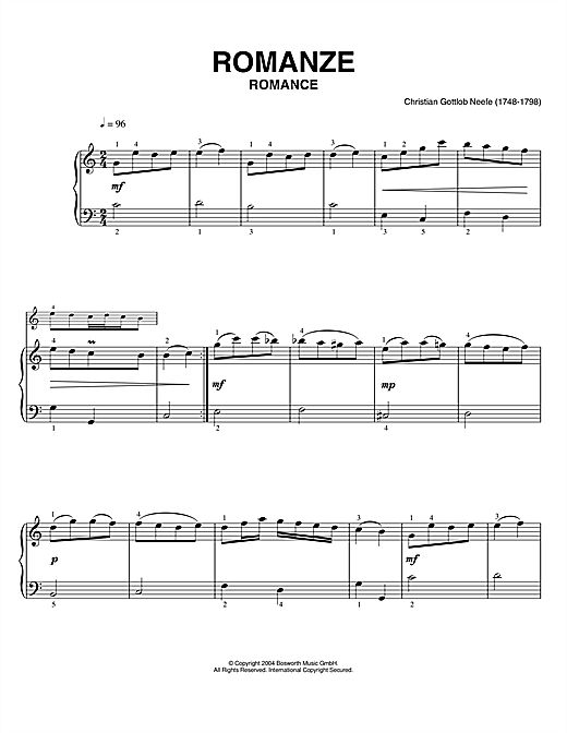 Download Christian Gottlob Neefe 'Romance' Digital Sheet Music Notes & Chords and start playing in minutes