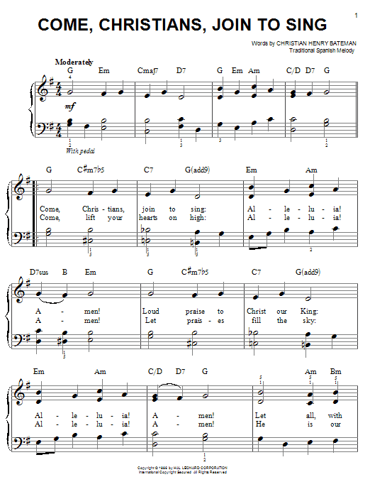 Download Christian Henry Bateman 'Come, Christians, Join To Sing' Digital Sheet Music Notes & Chords and start playing in minutes