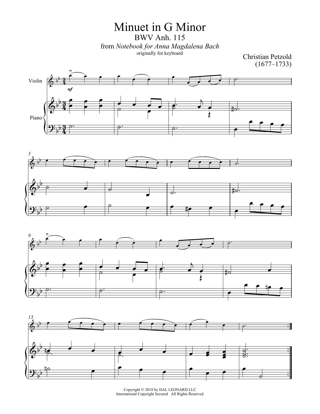 Download Christian Petzold 'Minuet In G Minor, BWV Anh. 115' Digital Sheet Music Notes & Chords and start playing in minutes