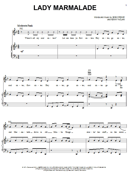 Christina Aguilera Lady Marmalade sheet music notes and chords