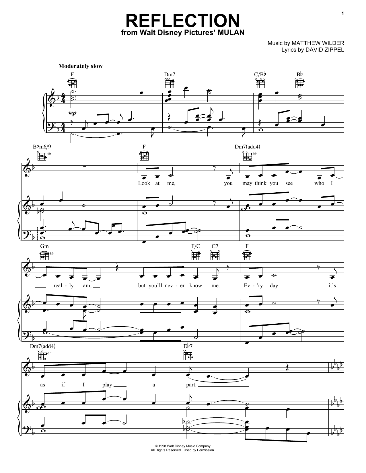 Christina Aguilera Reflection (Pop Version) sheet music notes and chords