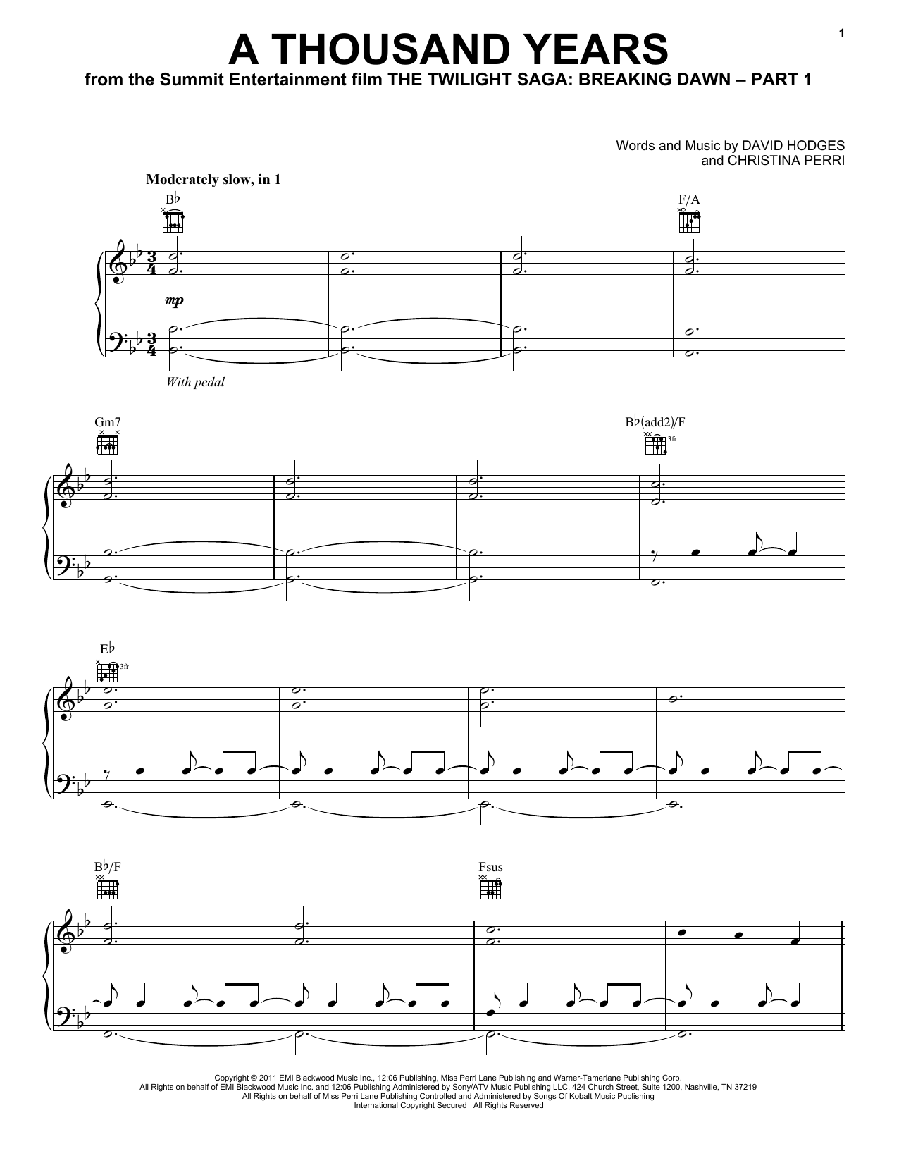 Christina Perri A Thousand Years sheet music notes and chords
