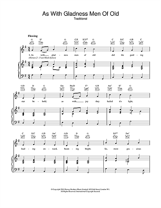 Christmas Carol As With Gladness Men Of Old sheet music notes and chords