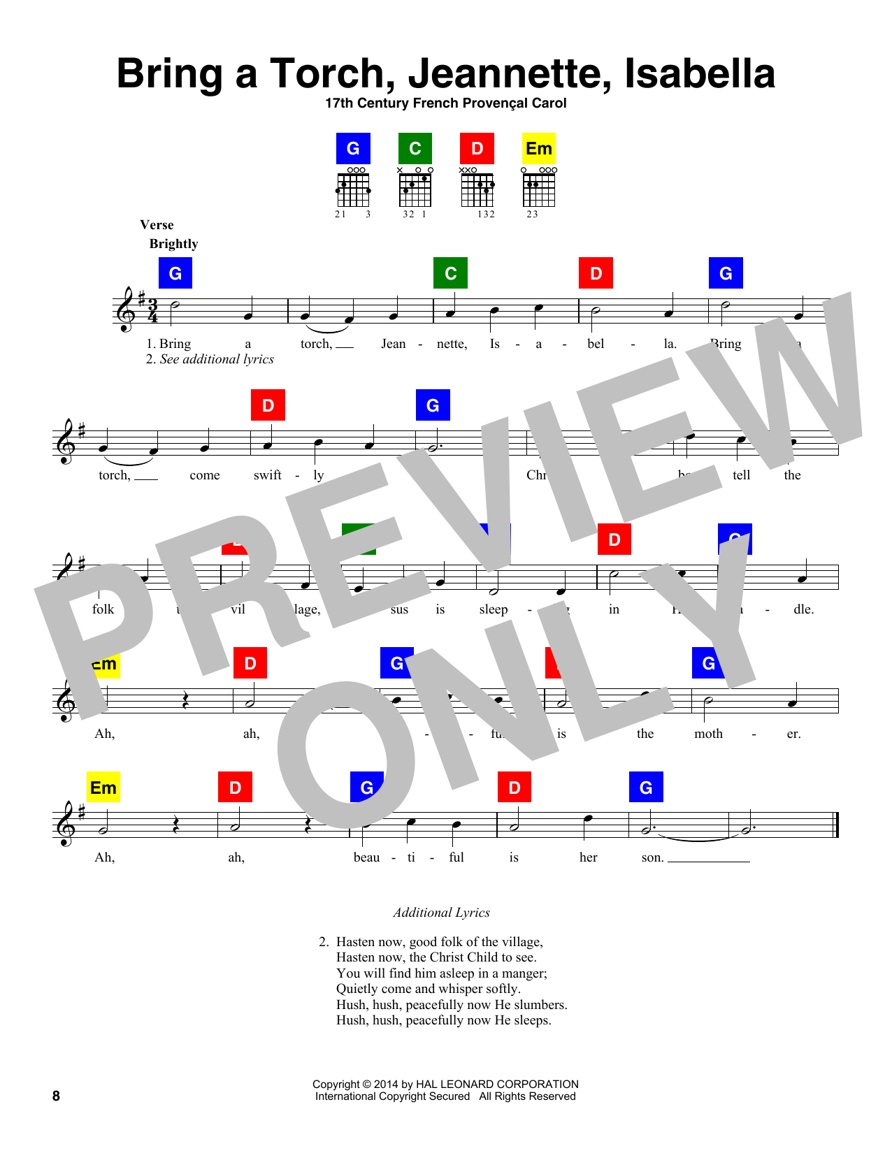 Download Christmas Carol 'Bring A Torch, Jeannette, Isabella' Digital Sheet Music Notes & Chords and start playing in minutes
