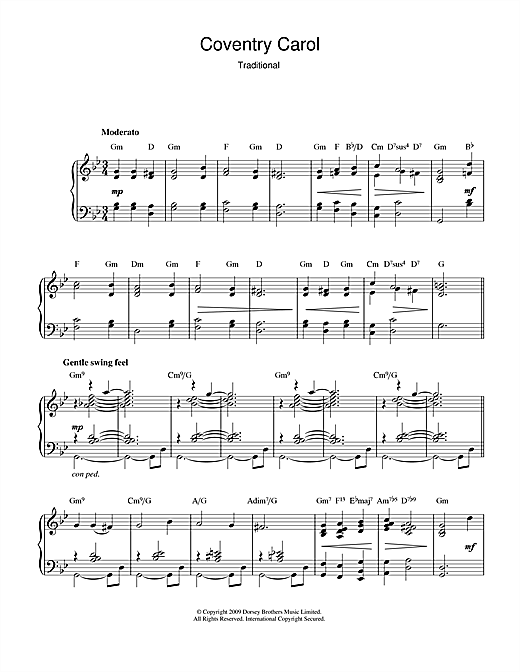 Download Christmas Carol 'Coventry Carol (jazz version)' Digital Sheet Music Notes & Chords and start playing in minutes