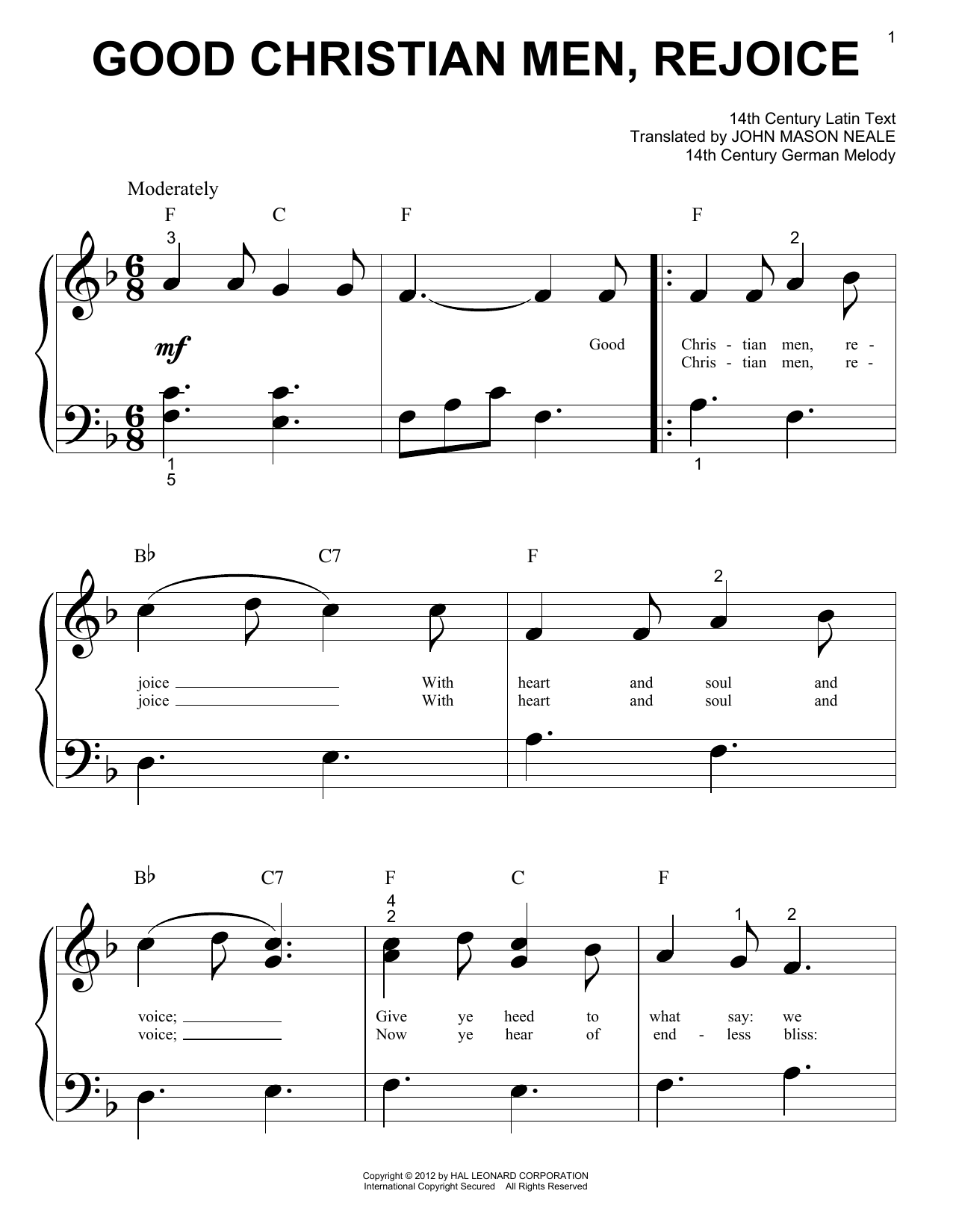 Traditional Carol Good Christian Men, Rejoice sheet music preview music notes and score for Piano (Big Notes) including 2 page(s)
