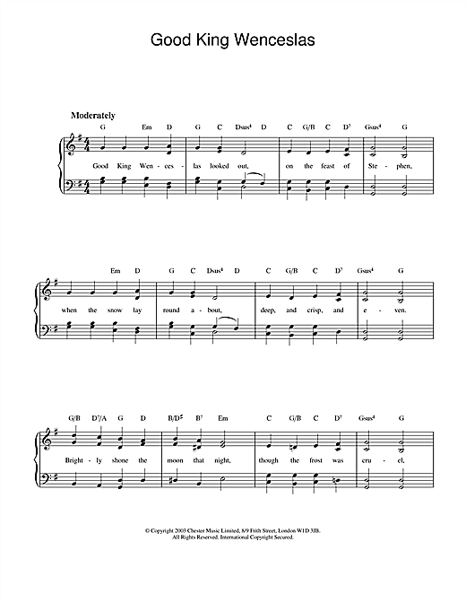 Christmas Carol Good King Wenceslas sheet music preview music notes and score for Piano (Big Notes) including 2 page(s)