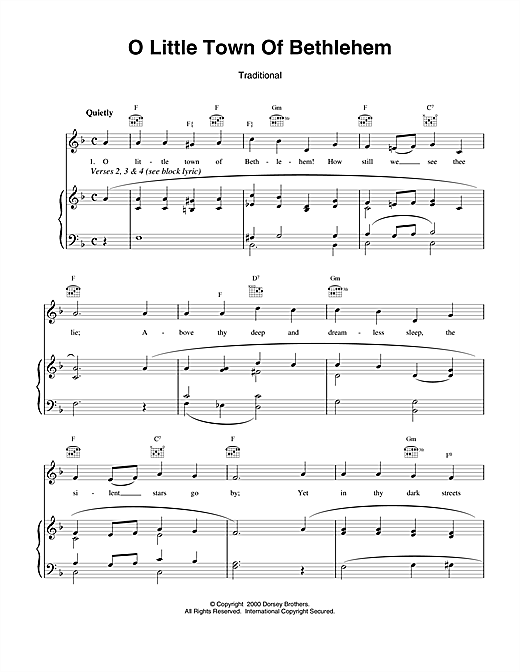 Download Christmas Carol 'O Little Town Of Bethlehem' Digital Sheet Music Notes & Chords and start playing in minutes
