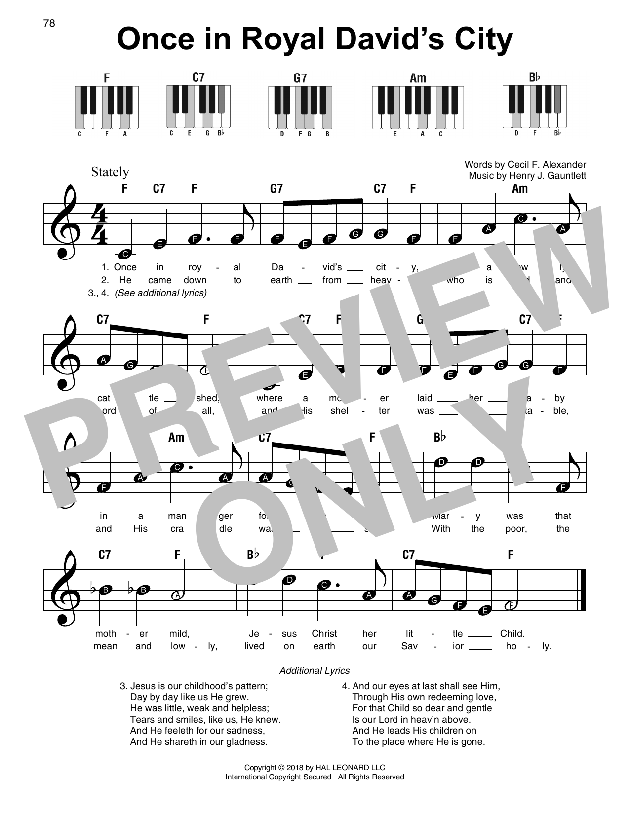 Download Christmas Carol 'Once In Royal David's City' Digital Sheet Music Notes & Chords and start playing in minutes