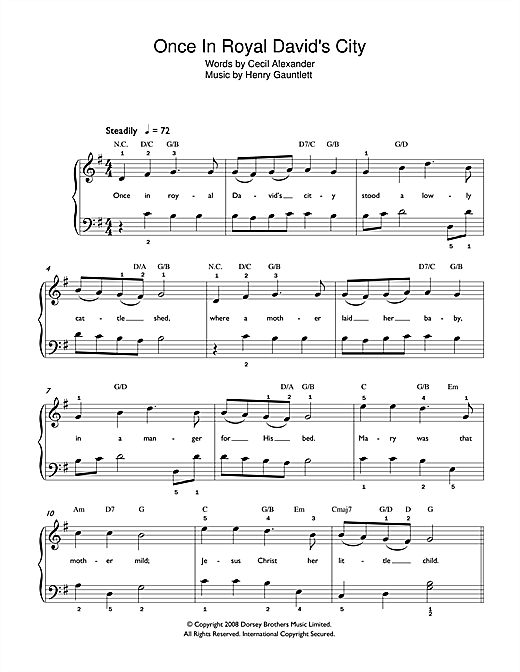 Christmas Carol Once In Royal David's City sheet music preview music notes and score for Easy Piano including 2 page(s)